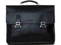 Стильный черный мужской портфель из натуральной гладкой кожи