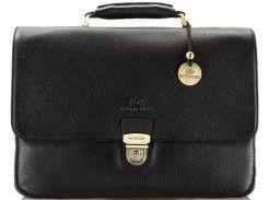 Мужской черный кожаный вместительный портфель коллекции City Leather