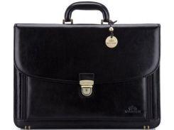 Мужской черный кожаный портфель коллекции Italy с надежным замком на ключике
