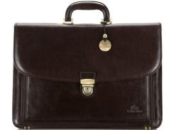 Мужской коричневый кожаный портфель коллекции Italy с надежным замком на ключике