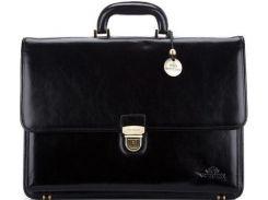 Стильный и вместительный черный кожаный портфель коллекции Italy