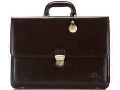 Стильный и вместительный коричневый кожаный портфель коллекции Italy