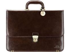 Надежный коричневый кожаный портфель коллекции Italy с замком на ключике