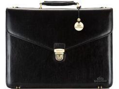 Стильный мужской черный кожаный портфель коллекции Italy с отделением-органайзером