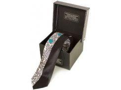 Мужской узкий шелковый галстук с абстрактным рисунком и черной полосой