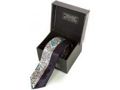 Мужской узкий шелковый галстук с абстрактным рисунком и темно-синей полосой
