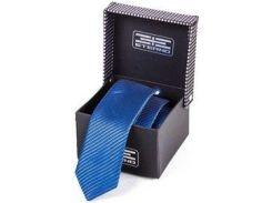 Мужской шелковый галстук с лазурным оттенком и тонкой черной диагональной полоской