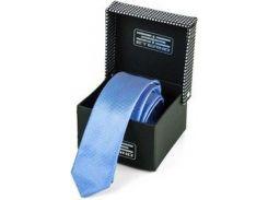Небесно-голубой мужской шелковый галстук с тонким геометрическим рисунком