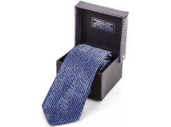 Стильный мужской шелковый галстук с вертикальной голубой полоской на синем фоне