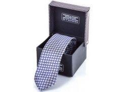 Мужской шелковый галстук в сине-серо-белую клеточку