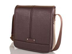 Мужская сумка-почтальонка из качественного кожезаменителя BONIS (БОНИС) SHIM8098-brown