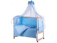 Детская постель Qvatro Ellite AE-08 апликация Голубой (мишка сидит с голубым сердцем)