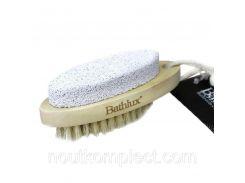 Щетка банная двусторонняя с натуральным ворсом и пемзой 9.7х4 см Bathlux 90520