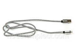 Кабель PowerPlant USB 2.0 AM/Micro B, двусторонний, 1м, серый