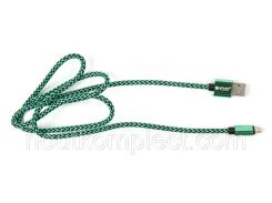 Кабель PowerPlant USB 2.0 AM/Micro B, двусторонний, 1м, зеленый