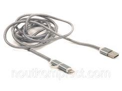 Кабель PowerPlant Quick Charge 2A 2-в-1 cotton USB 2.0 AM – Lightning/Micro 2мgrey