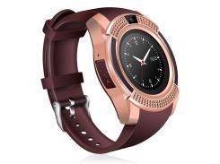 Часы Smart Watch Phone V8 Золотистые с коричневым (8804)