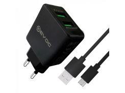 Мережевий зарядний пристрій Evoc 2 USB 2.4A + Micro USB cable Чорний (MZP-000003)