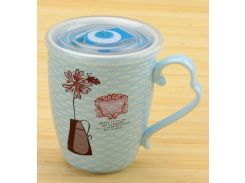 Чашка с цветком и термокрышкой голубая