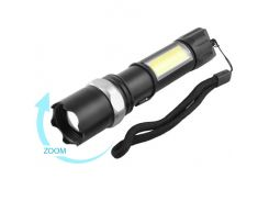 Тактический фонарик POLICE 8626C-XPE+COB, 1х18650, ЗУ microUSB, zoom