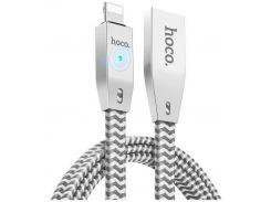 Кабель Hoco U11 Zinc Alloy Reflective Knitted Lightning 1м Silver