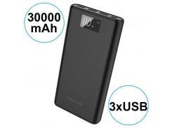 Внешний аккумулятор Power bank BOROFONE BT2D 30000 mah, три разъема USB, ЖК-дисплей
