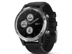 Спортивные часы Garmin fenix 5 Plus, Glass, Silver w/Black Band, GPS Watch, EMEA (010-01988-11)