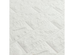 3D Панель для стен:цвет однотонный (под кирпич) лофт (самоклеящиеся) Белый