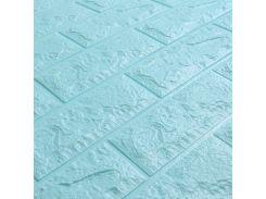 3D Панель для стен:цвет однотонный (под кирпич) лофт (самоклеящиеся) Бирюзовый