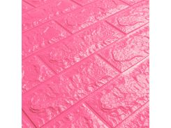3D Панель для стен:цвет однотонный (под кирпич) лофт (самоклеящиеся) Темно-розовый