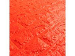 3D Панель для стен:цвет однотонный (под кирпич) лофт (самоклеящиеся) Оранжевый