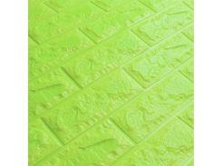 3D Панель для стен:цвет однотонный (под кирпич) лофт (самоклеящиеся) Зеленый