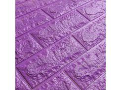 3D Панель для стен:цвет однотонный (под кирпич) лофт (самоклеящиеся) Фиолетовый
