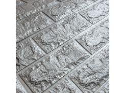 3D Панель для стен:цвет однотонный (под кирпич) лофт (самоклеящиеся) Серебро