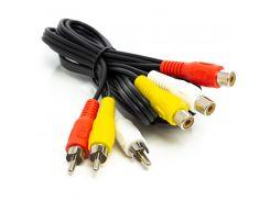 Аудио кабель PowerPlant 3*RCA (M) - 3*RCA (F), 1 м