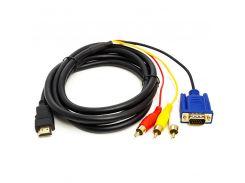 Кабель PowerPlant HDMI (M) - VGA (M) / 3*RCA (M), 1080p, 1м