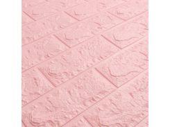 3D Панель для стен:цвет однотонный (под кирпич) лофт (самоклеящиеся) Розовый