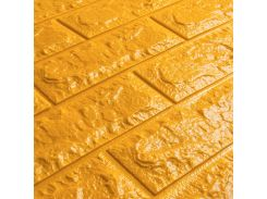 3D Панель для стен:цвет однотонный (под кирпич) лофт (самоклеящиеся) Золотой
