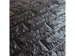 3D Панель для стен:цвет однотонный (под кирпич) лофт (самоклеящиеся) Черный