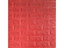 3D Панель для стен:цвет однотонный (под кирпич) лофт (самоклеящиеся) Красный