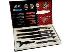 """Набор ножей 5шт.+овощечистка """"Bass""""(B6980), ножи из нержавеющей стали  лазерной заточки"""