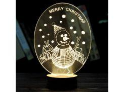 3D светильник ночник  1114 (Снеговик)