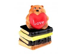 Копилка Мишка с сердечком на книге
