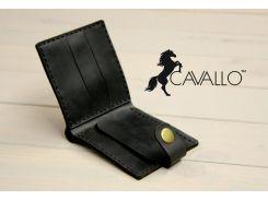 Мужской кошелек из натуральной кожи с монетницей Cavallo™ Crazy Horse Classic, черный С0005