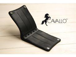 Мужской компактный кошелек из натуральной кожи без монетницы Cavallo™ Crazy Horse Classic, черный С0007