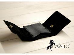 Зажим для денег из натуральной кожи Cavallo™ Crazy Horse Classic, черный С0008