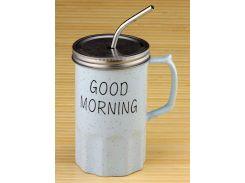 Кружка - банка Good morning голубая ( loft / лофт )