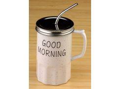 Кружка - банка Good morning серая ( loft / лофт )
