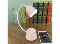 Смарт лампа колонка настольная Cydhyteam HY41 led bluetooth 5в1 портативный динамик Розовый