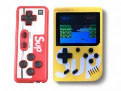 Портативная игровая ретро приставка с джойстиком 400 игр Dendy денди SEGA 8bit SUP Game Box желтый